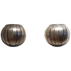 Pair of French 1970s Max Sauze Style Aluminium Half Sphere Shaped Wall Sconces