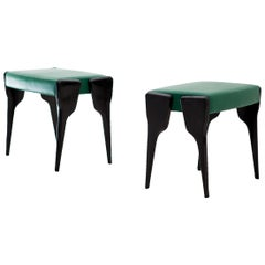 Pair of Italian Modern Stool with Black Mahogany Legs and Natural Green Leather