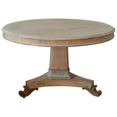 Large Antique Round Pine and Bleached Mahogany Table, English, circa 1830