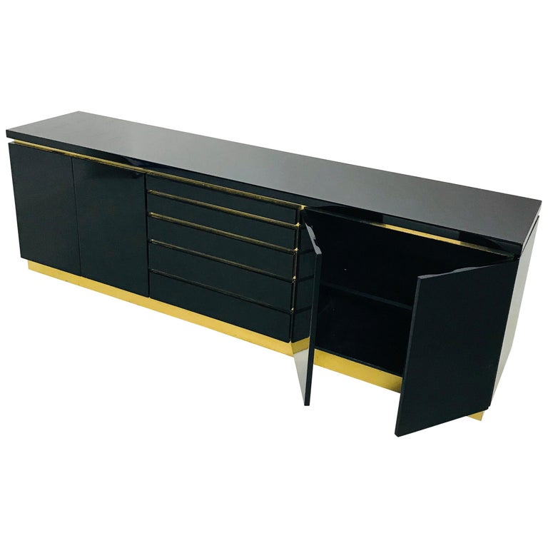 Jean Claude Mahey Black Lacquered Sideboard Hollywood Regency