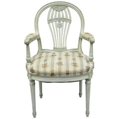 French Louis XVI Style Hot Air Balloon Back Montgolfier Blue Chair Armchair