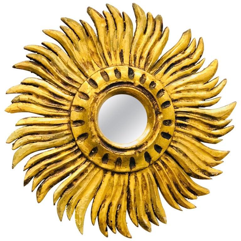 Petite Italian Starburst Sunburst Gilded Wood Mirror, circa 1930s