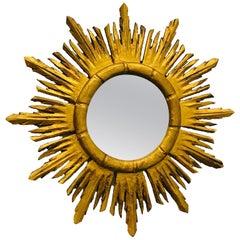 Stunning Italian Starburst Sunburst Gilded Wood Mirror, circa 1930s