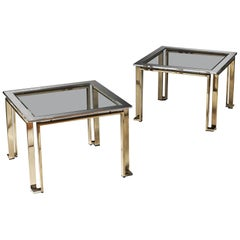 Pair of Geometric Chrome and Brass Tables