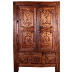 Eighteenth Century French Oak Breton Wardrobe or Cupboard
