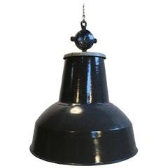 Large Grey Enamel Industrial Pendant Lamp, 1950s