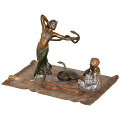 """the Snake Dancer"" Viennese Vienna Cold Painted Bronze Probably Franz Bergmann"