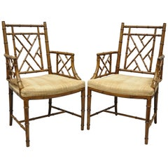 Pair of Faux Bamboo Chinese Chippendale Fretwork Armchair Hollywood Regency