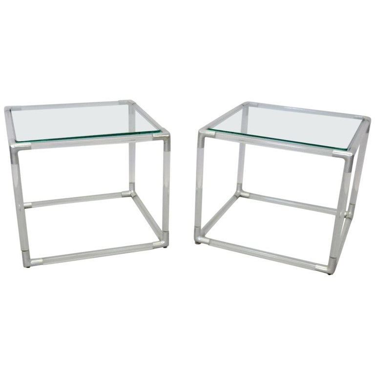 Pair of Tubular Lucite with Aluminum Trim Glass Top Side Tables
