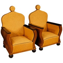 20th Century Orange Fabric Walnut Wood French Pair of Armchairs, 1950