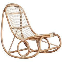 1950s Nanna Ditzel Design Rattan Rocking, Chair