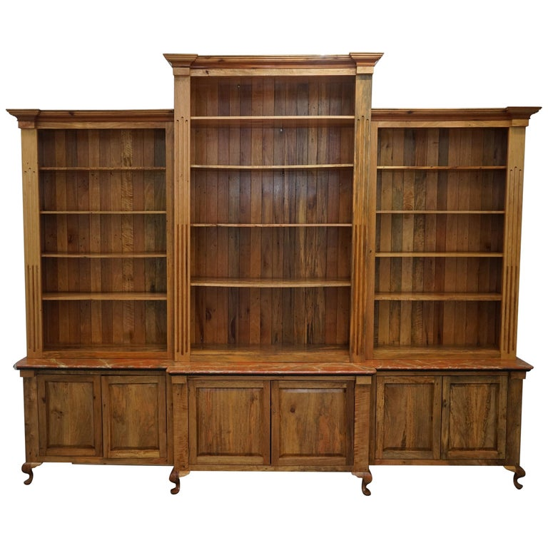 Battleford Hall Breakfront Library Maple and Oak Bookcase Marbled