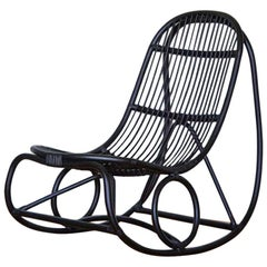 1950s Nanna Ditzel Design Black Rattan Rocking Chair