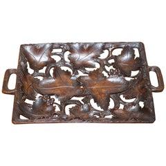 Antique Black Forrest Hand-Carved Fruit Serving Tray Lovely Decorative Piece