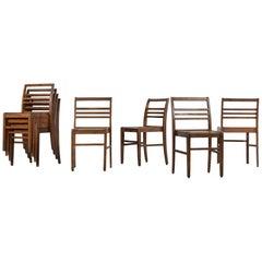 Set of 8 Chairs by René Gabriel, Vintage Oak, 1950s