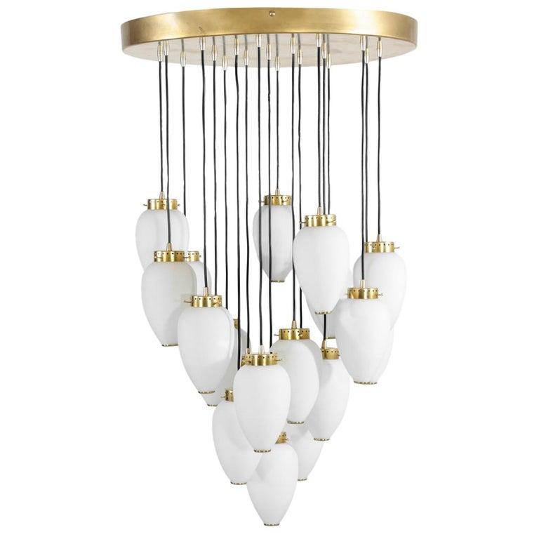 Large Modern Suspension, Hans Agne Jakobsson Style, 19 Lights For Sale