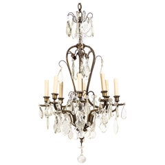 French Rococo Style Bronze 8-Light Chandelier with Handcut Crystals