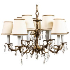 French Ormolu Gilded Bronze and Crystal Chandelier
