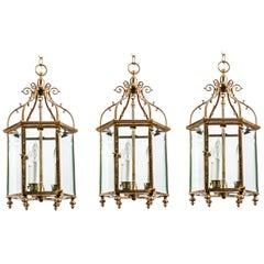 Trio of Brass Georgian Style Lanterns