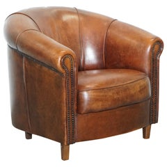 Sheepskin Leather Aged Brown Joris Product Design Tub Club Armchair Rare Find