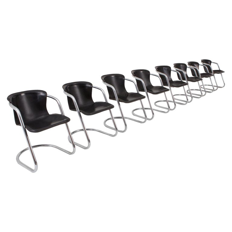 Willy Rizzo Dinging Chair with Leather Seats for Cidue, Set of 8