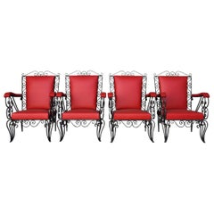1950s Red Skaï Covered Wrought Iron Armchairs