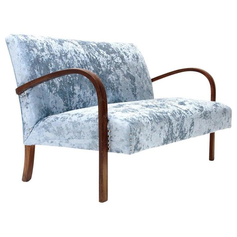Italian Midcentury Azure Velvet Sofa, 1940s