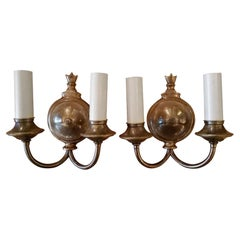 1920s Pair of Two-Arm Bronze Finished Sconces