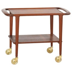 Scandinavian Teak Carts with Gilt Metal, 1960s