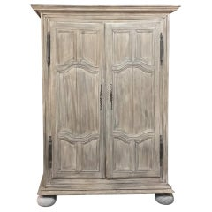 19th Century Country French Whitewashed Armoire from Lorraine