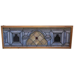 1900s Stained Glass Window with Red Jewel in New Wood Frame