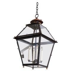 19th Century Black Metal Square Lantern, France