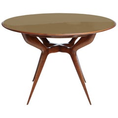 Midcentury Circular Wood Center Table with Reverse Painted Gold Glass Top