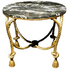 Hollywood Regency Style Gilt Metal & Marble Top Coffee Table, Italy Circa 1950