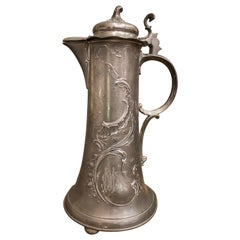 Art Nouveau Floral Motif Pewter French Tankard, with Initials and Marks