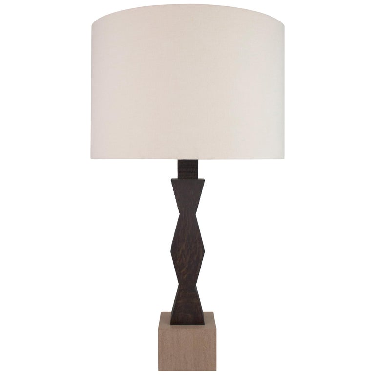 Contemporary Ridge Lamp with Geometric Oak Base and Linen Shade