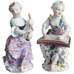 Two Meissen Figures of Young Ladies Playing Instruments, circa 1755-1760