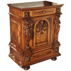 Elegant Antique French Parquetry Buffet in the Renaissance Style, Late 1800s