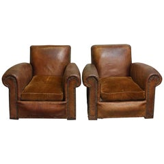 1980s Pair of French Beefy Leather Club Chairs