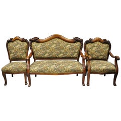 3 Pc Victorian Empire Mahogany Dolphin Carved Parlor Set Settee Armchair & Chair