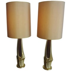 High Pair of Brass Table Lamps, Laurel, USA, 1970s
