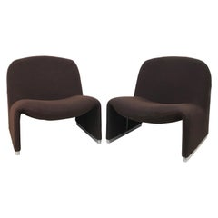 Pair of Brown Alky Armchairs by Giancarlo Piretti for Castelli, Italy, 1970s