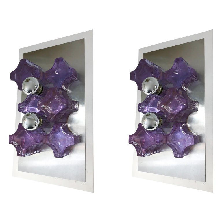 Pair of Sconces Pressed Glass by Biancardi and Jordan Arte, Italy, 1970