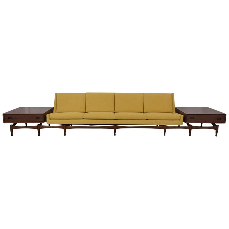 Danish Executive Modern Sofa with Side Tables