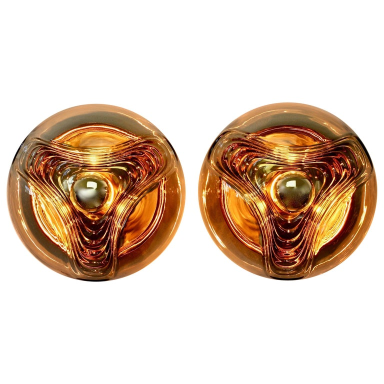 Peill & Putzler Large Pair of 1970s Smoked Glass Biomorphic Wall Light Sconces