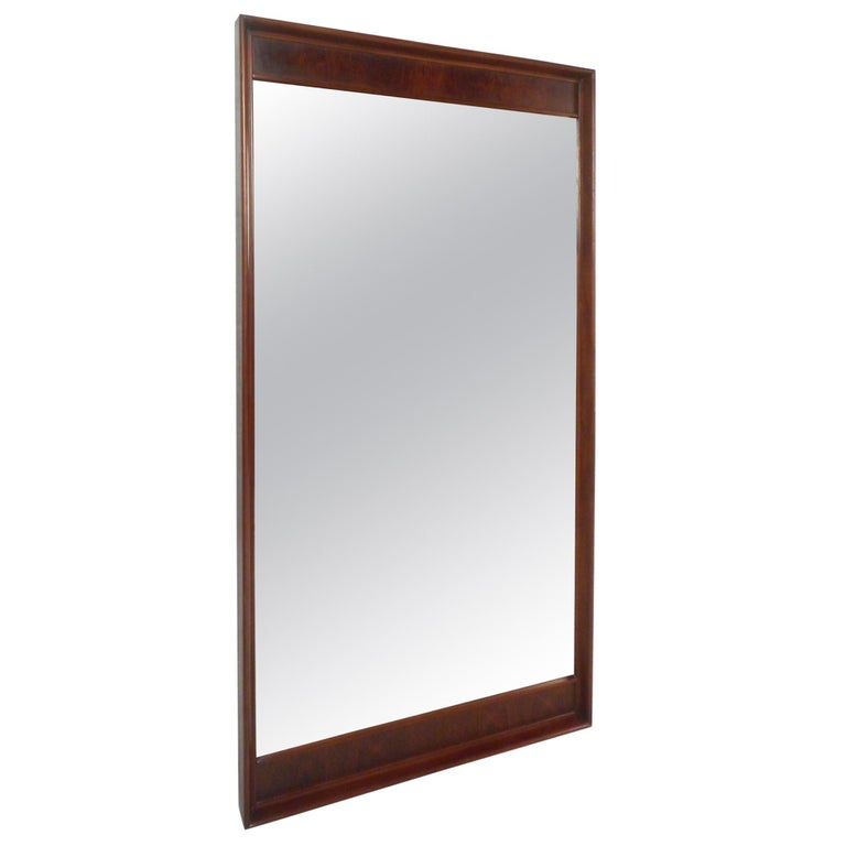 Large Mid-Century Modern Rosewood and Walnut Mirror