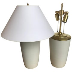 Pair of Contemporary Ivory Ceramic Vase Table Lamps