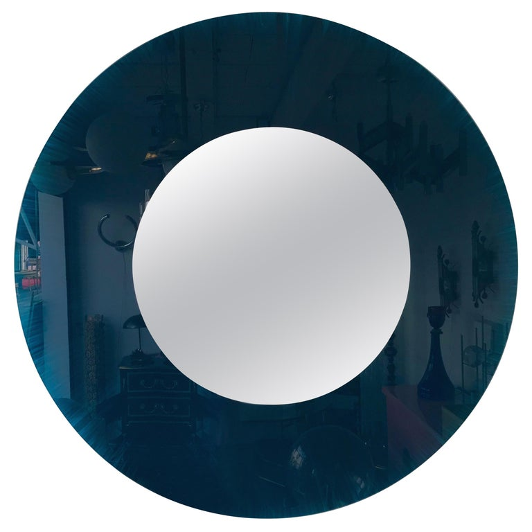 Mirror Blue Glass by Glas Italia.  Italy, 1980s For Sale