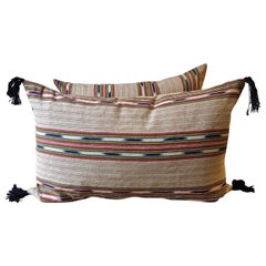 Ikat Striped Ticking Linen Pillow French 19th Century