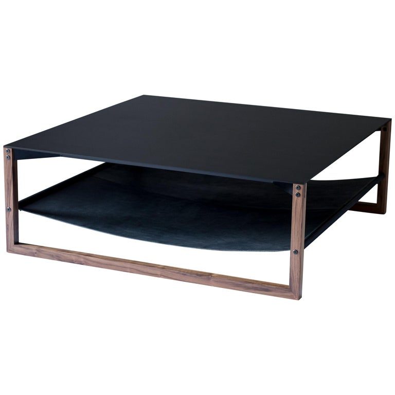 The Sling, Modern Aluminum, Leather and Walnut Square Coffee Table For Sale